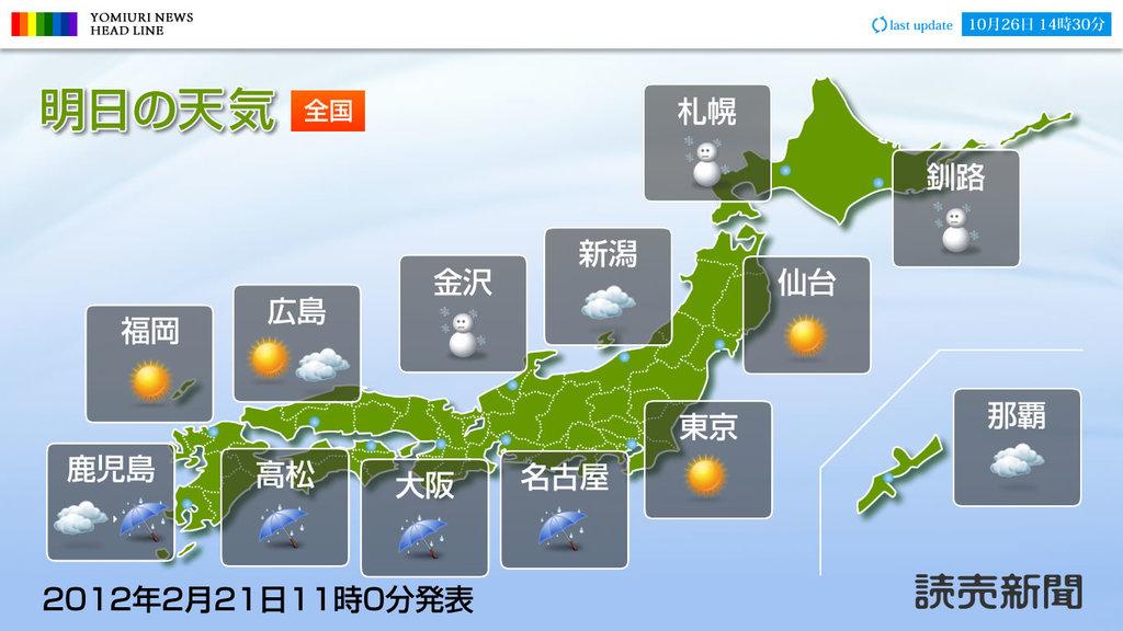 読売新聞エリア天気予報【全国】