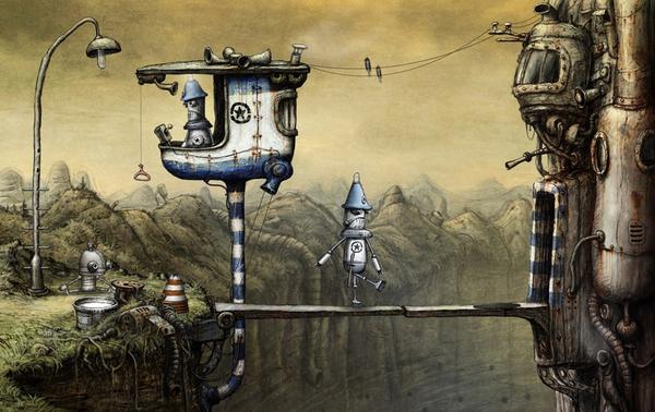 町の入り口のシーン。警備員らしきロボットは顔パスで入って行く