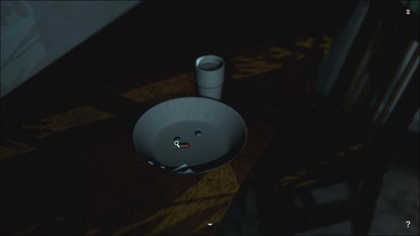 アイテムやパズルがある場所ではこのようにアップになることがある。ここではお皿に入っている薬をクリックするとストーリーが進む