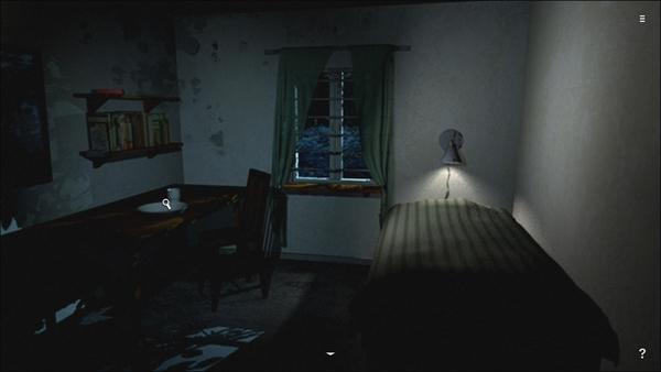 ゲームスタートは施設で割り当てられた自分の部屋。テーブルの上を見てみよう