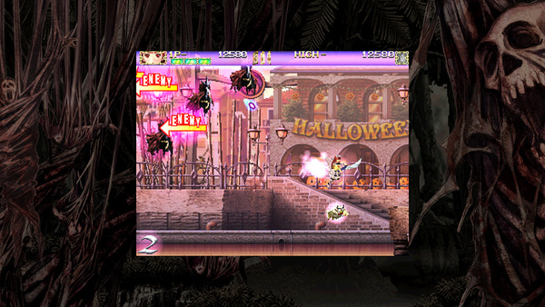 敵は左からも出現する。キャラクターの背後から現れる場合は注意を促すマークが表示される