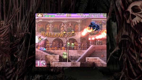 画面中央のどくろが得点アイテム。特定の敵を倒すと出現し、倒す際のショットの種類で出現量が変わる