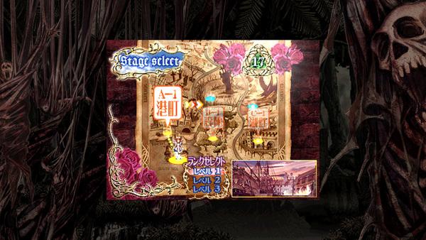 ゲームスタート時、ステージはA-1、B-1、C-1、ランク(難易度)はレベル1、2、3から選べる