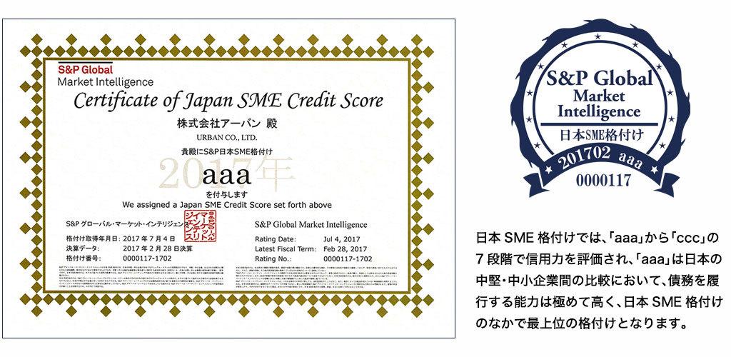 日本SME格付けでは、「aaa」から「ccc」の7段階で信用力を評価されます。「aaa」は日本の中堅・中小企業間の比較において、債務を履行する能力は極めて高く評価され、S&Pが付与する日本SME格付けのなかで最上位の格付けとなります。