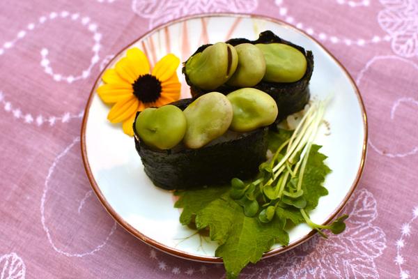 塩ゆでソラマメの軍艦巻き 野菜寿司