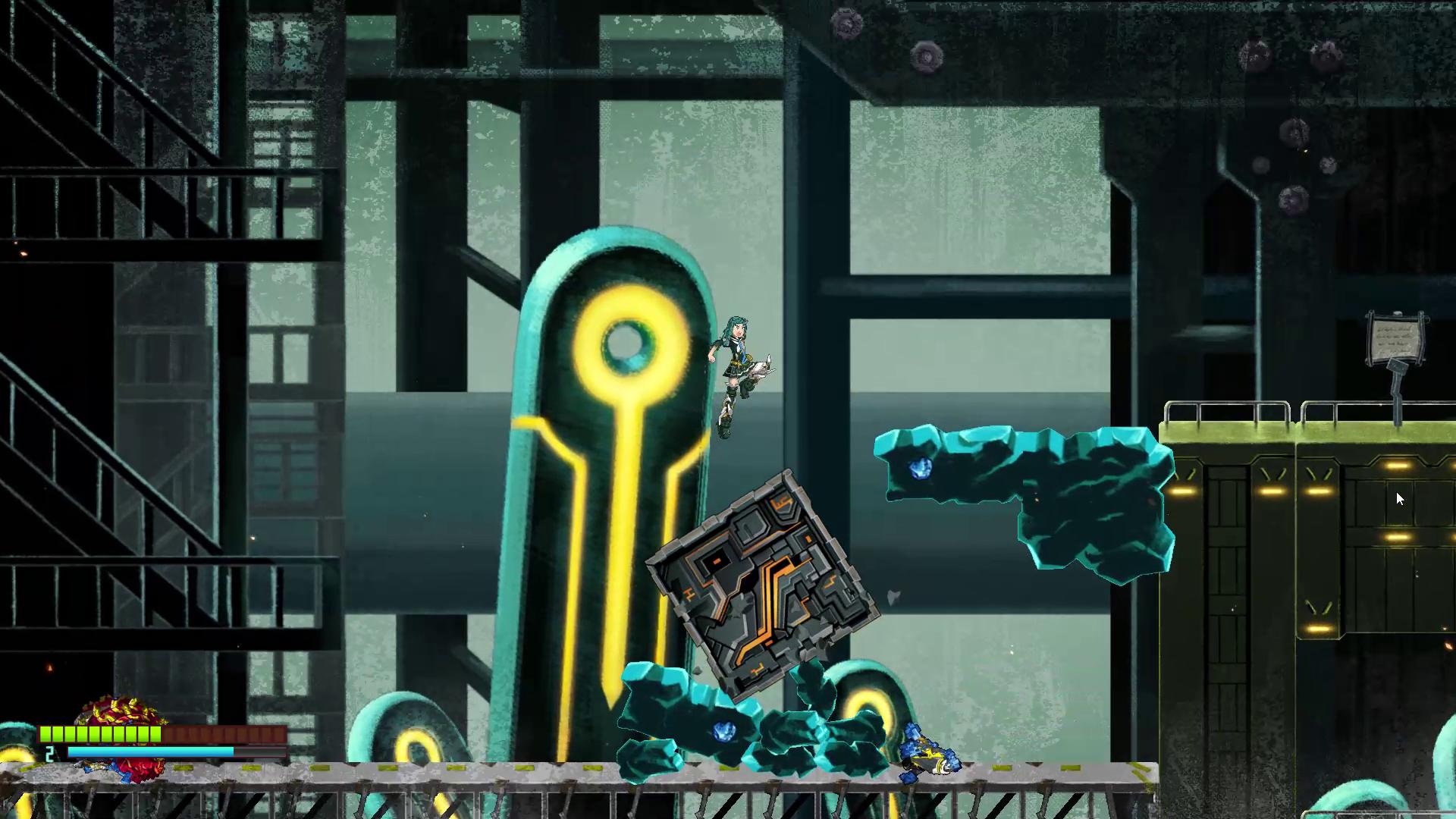 レイカのもう一つの力が、ガレキから道具や武器を作り出す「アルケー」能力。巨大なブロックを作り、足場にしたりボタンを押す重しにしたりできる