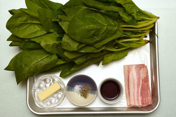 作り置き ほうれん草とベーコンのバター炒め 材料